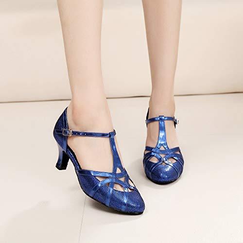 Minitoo qj6133Damen Geschlossen Zehen High Heel PU Leder Glitzer Salsa Tango Ballsaal Latin t-strap Dance Schuhe, Blau Blue-6cm Heel,38 EU/5.5 UK - 7