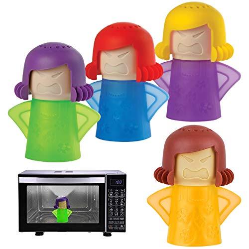Angry Mama Microonde Cleaner,Yueser 4 pezzi Cool Mama Frigo Deodorante Assorbitori di Odori Pulitore a Vapore Cucina Cleanser Tool (4 Colori)