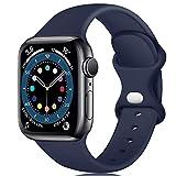Epova Cinturino in Silicone Compatibile con Apple Watch 44mm 42mm, Cinturini di Ricambio per iWatch SE Series 6 5 4 3 2 1, Blu Scuro, Grande