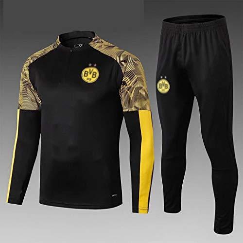 European Football Club Männer Fußball Sweatshirt Langarm Frühling und Herbst Breathable Sport Schwarz Trainings-Uniform (Top + Pants) -ZQY-A0466 (Color : Black, Size : L)