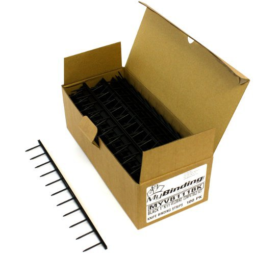 "Black Velobind Compatible Hot Knife Binding Strips - 100pk (1"" x 11"" ~ 250 Sheets)"