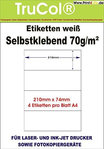400 Etiketten 210x74mm selbstklebend, 4 Stück auf einem Blatt A4 - 100 Blatt allro&-Qualität weiss Etiketten für Online Frankierung kompatibel zu DHL -Aufklebern & Hermes -Paketaufklebern Klebeetiketten Paketlabel Versandlabel Adressetiketten