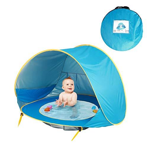 Tienda Playa Bebe Modelo Actualizada,Pop up Tienda de Bebé con Piscina para Infantil, Carpa Automática Plegable Portátil de protección Solar Anti UV 50+ (Adecuada para bebé de 3 a 36 Meses) (Azul)