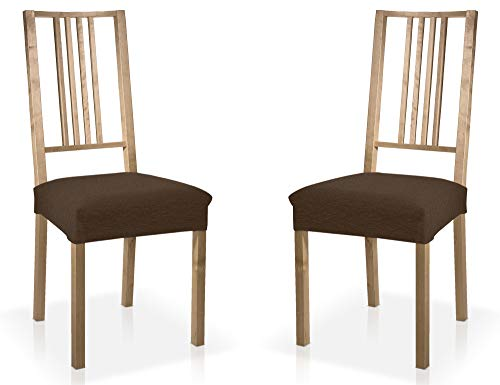 Bartali Zweier Set Stretch Stuhlussen für Esszimmer- und Wohnzimmerstühle ohne Rückenlehne (nur Sitzfläche) aus anpassungsfähigem Stoff mit einfarbigem braun Design