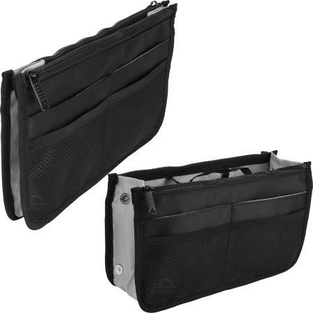 Mini organizador de bolsa de viagem com 2 bolsos com zíper e 8 bolsos externos