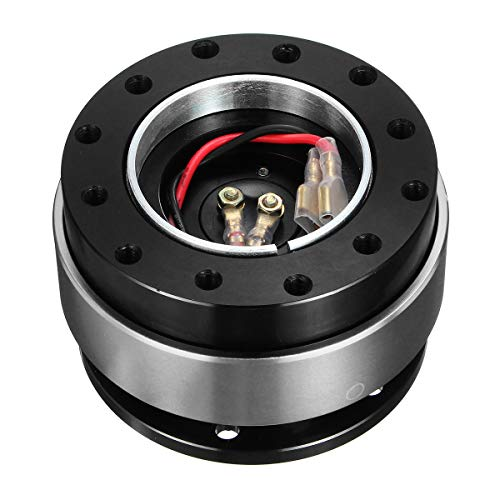 NO LOGO FXF-LGSPQ, 1pc Universalauto-Schnellspann-Lenkrad Verschluss Weg vom Hub Adapter Boss Kit Aluminium 6-Loch (Farbe : Silber-)