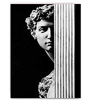ヴィンテージデビッド図彫刻黒と白のキャンバスは、ウォールアートポスター絵画やリビングルーム、ベッドルーム、フレームレスのためのホームデコレーションの写真を印刷します,40×60cm