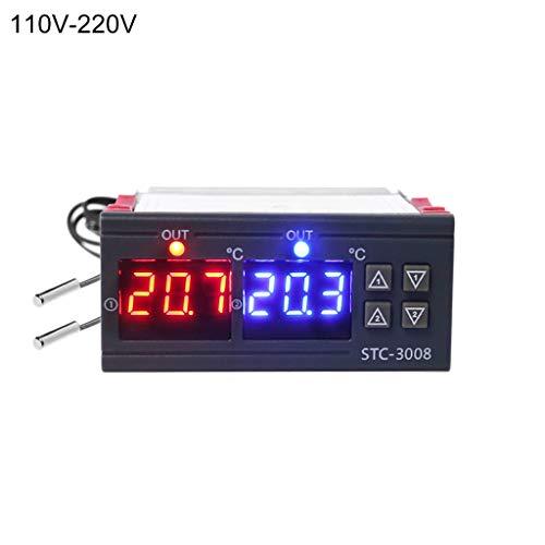 RYOR Digitaler Temperaturregler, Doppelthermostat, Heizungskühlung, 10 A, AC 110 V, 220 V, genaue und klare Messung