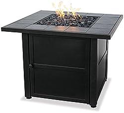 powerful Endless Summer, GAD1399SP, LPG Fire Bowl Outdoor Slate Tiles, Black