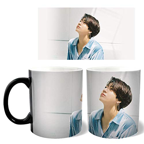 AMA-StarUK36 Kpop Map of the Soul 7 Thermotransfer-Farbbecher-Wasserflaschen-Tasse mit Cartoon-Mitglied Foto 300ml(A-H07)