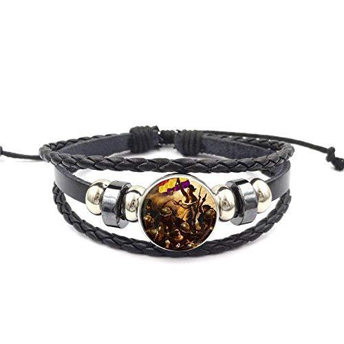 Für Frauen Männer Party Antik Vintage Style Schwarz Leder Armband Armreif Schmuck Liberty