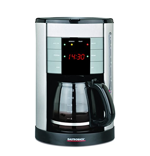 Gastroback 42703 Design Coffee Aroma Plus, Filterkaffeemaschine, 12 Tassen, 1,7 Liter, LED Display und 30 Minuten Warmhaltefunktion, Plastik, Unknown_Modifier, Schwarz, Silber