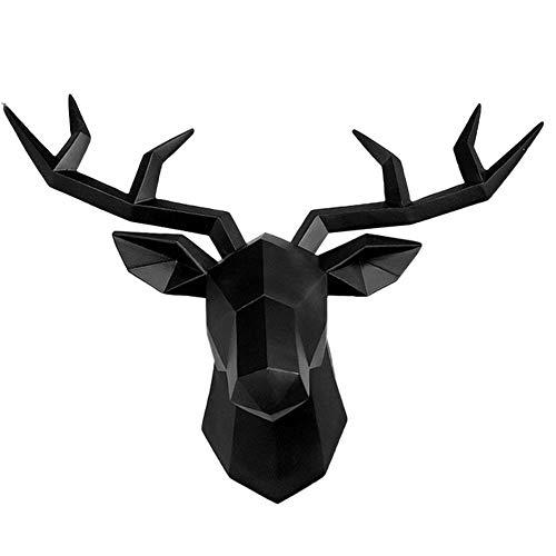 JUNGEN Wanddeko Geweih Modern - Hirschkopf 3D Deko Schädel - Robustes Dickes Material Hirschkopf-Skulptur, Wandmontage, weißer Hirschkopf, Wanddekoration