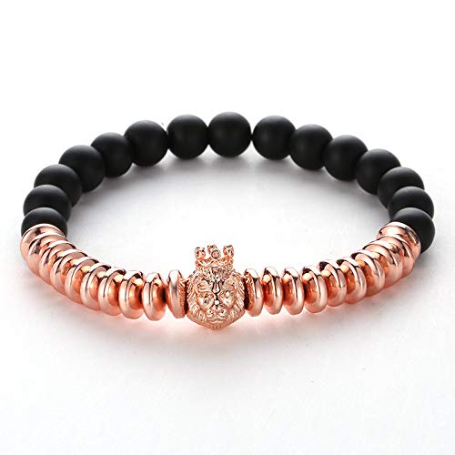 ZMMZYY Pulsera Piedra,Moda Negro Piedras pómez Rose Gold Bracelet Mujeres Hombres Cabeza de león Cordones Bangle Micro Inset Crown Accesorios