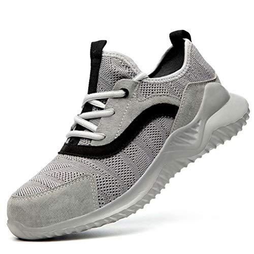 JIANYE Schutzschuhe S3 Arbeitsschuhe Herren Damen Sicherheitsschuhe mit Stahlkappe Atmungsaktiv Leicht Sneakers Unisex Grau 47