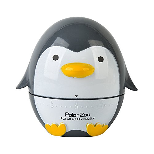 VNEIRW Küchentimer, Eieruhren, Cartoon-Pinguin Zeitmesser Küche Kurzzeitmesser, Alarm Sound Countdown Timer Home Backen Kochen Steaming Manual Timer (Grau)