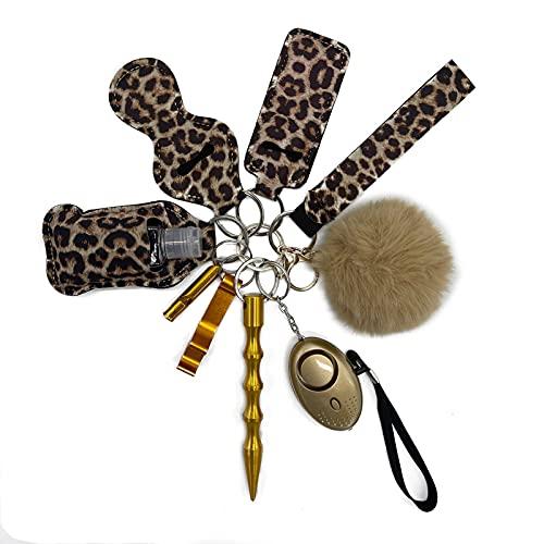Taschenalarm Frauen Persönlicher Alarm Schlüsselbund-Set, 10 Pcs Keychain Set, Sicherheit Schlüsselanhänger mit 140DB Panikalarm Taschenlampe für Frauen Mädchen und ältere Menschen (Leopard)