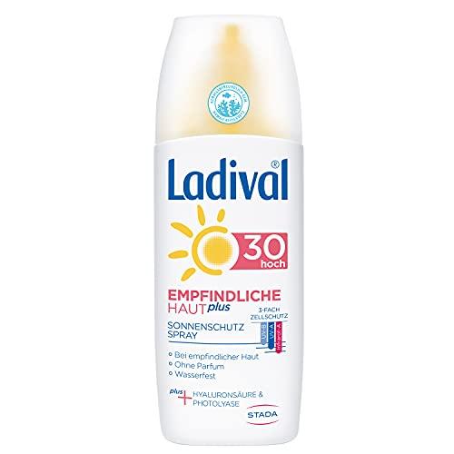 Ladival Empfindliche Haut Plus Sonnenschutz Spray LSF 30 - Parfümfreies Sonnenspray ohne Farb und Konservierungsstoffe - wasserfest, 150 ml