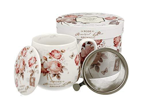 Tee-Tasse Teebecher Set mit Teesieb (Edelstahl) und Deckel Porzellan Teetasse bauchig mit Sieb Geschenk-Tasse Blumen 400 ml von DUO 3teilig in Geschenkbox Becher Kräuter-Teetasse (Beautiful Rose)