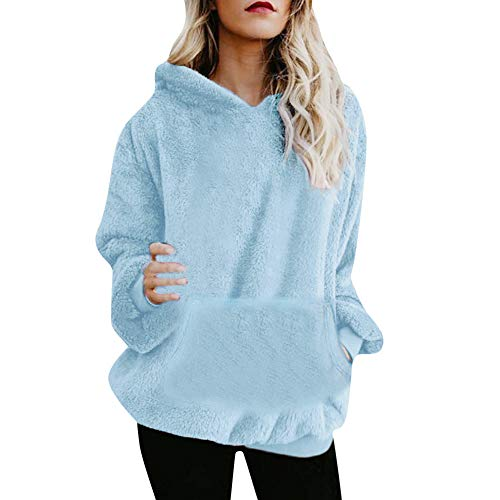 Fudule Womens Oversized Sherpa Pullover Hoodies Fuzzy Fleece Hooded Sweatshirts Warm Pockets Fluffy Coats Light Blue
