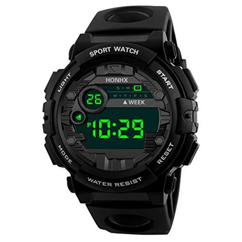 Men's Digital Sport Watch Electronic LED Fashion Waterproof Outdoor Casual Wrist Watch (Black)