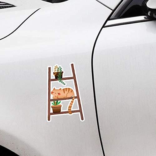 ZQZL 9,5 CM * 15,5 CM Escalera Divertida para Gatos y Plantas en macetas PVC calcomanía decoración Coche Pegatina