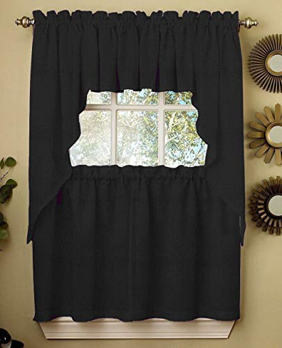 Ribcord Solid Color Kitchen Curtain Swag Valance Pair 54W x 38L Swag, Black