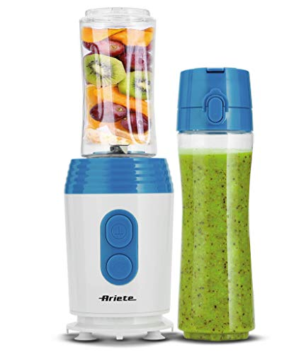 Ariete 572 Drink n'Go Standmixer mit 2 Flaschen für 400 ml und 600 ml, BPA Free, Vakuumfunktion, 350 W, 4 Klingen Tritaghiaccio Edelstahl, weiß/blau
