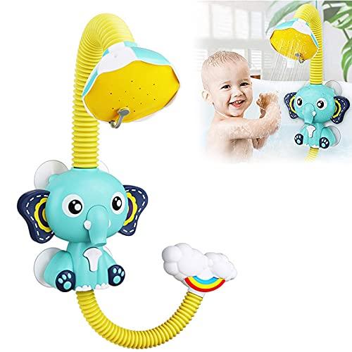 ZQBB Lindo Juguete de baño con rociador de Elefante, Lindo Grifo con patrón de Elefante, Juego de Agua para bebé, Cabezal de Ducha, rociador de Agua eléctrico, Juguete, Juguetes de baño (Blue)
