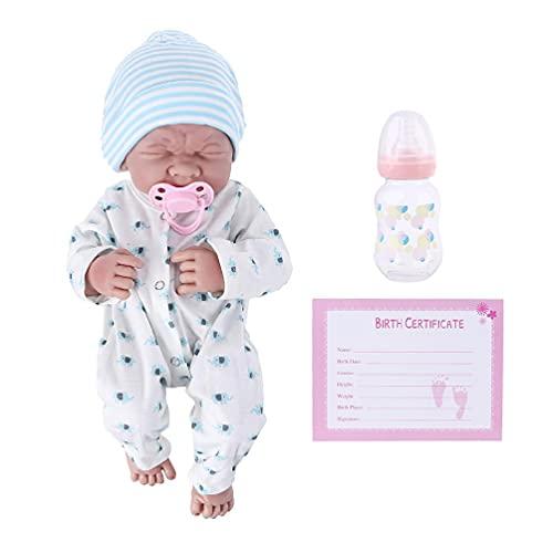 Milue Macacão de 35,5 cm para meninas/menino, boneca de brinquedo para bebê recém-nascido, realista, boneca reborn, boneca reborn, preto, corpo inteiro de silicone