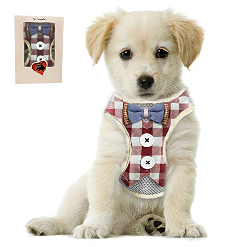 Bark Lover Small Puppy Harness with Bowtie, Adjustable Dog Vest Mesh Tuxedo Harness for Small Dog Kitten, Perfect for Party Wedding Holiday(L, Red Plaid)
