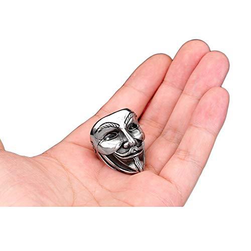 WTZWY Mode Männlichen Schmuck Ringe, 316L Edelstahl V Wie Vendetta Maske Ring Für Männer Charm Schmuck,12
