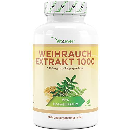 Weihrauch Extrakt 500 mg - 360 Kapseln - Hochdosiert mit 1000 mg je Tagesdosis - 65% Boswellia-Säure - Echtes indisches Boswellia Serrata - Laborgeprüft - Vegan - Premium Qualität