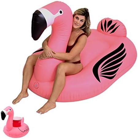GoFloats Giant Inflatable Flamingo Pool Float Raft Includes Bonus Flamingo Drink Float Swimming product image