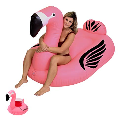 GoFloats Giant Inflatable Flamingo Pool Float | Raft Includes Bonus Flamingo Drink Float | Swimming Fun for Kids and Adults