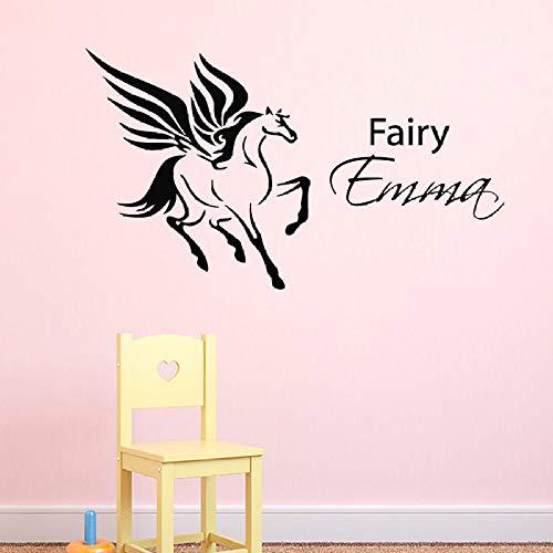 Geiqianjiumai Flying Fairy Animal Original Kindergarten Dormitorio Tatuajes de Pared hogar Magia decoración Pintura Vinilo Arte Pared Adhesivos Mural Negro 42X67 cm