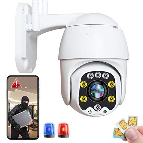 Cámara IP de Vigilancia Exterior 3G/4G LTE High-Definition 1080P Cámara Exterior PTZ 355°/90°,Alarma Remota,Detección de Movimiento,Impermeable,Visión Nocturna en Color 30M,Granja Pastar 【Cámara+32G】