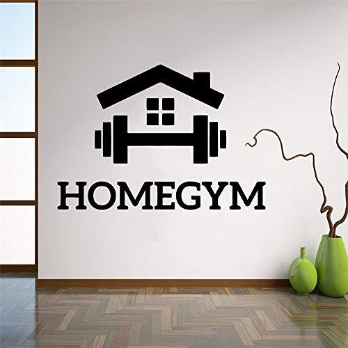 Home GYM Fitness Sports Logo Sign Entrenamiento Ejercicio Entrenamiento Etiqueta de la pared Calcomanía de vinilo Dormitorio Sala de estar Bodybuilding Club Studio Decoración para el hogar Mural