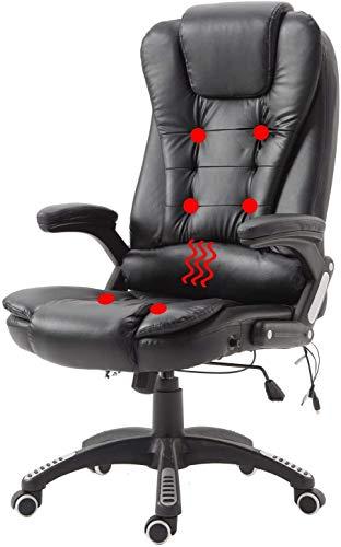 AUFUN Massagestuhl Ergonomischer Massagesessel Höhenverstellbarer Drehstuhl Bürostuhl mit Massagefunktion Massage Stuhl Schreibtischstuhl Gamingstuhl Tragfähigkeit 150KG, Schwarz