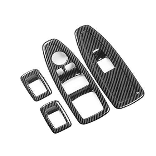 Wishful Ajuste para BMW 1 3 4 Series 3GT F20 F30 F31 F32 F34 F36 Ventana de Vidrio Levantamiento de Vidrio Decoración de la decoración del Panel de Fibra de Carbono ABS (Color : Black)