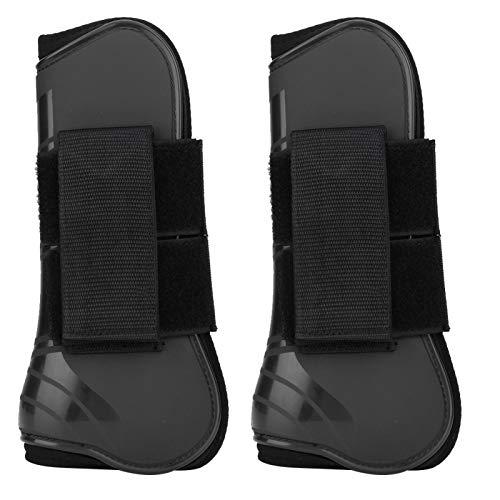 Envoltura para botas de caballo, con 2 bandas de bucle de gancho Cojín interior elástico grueso, 1 par de Protección para botas de salto para piernas Envoltura de soporte Equipo ecuestre(black)