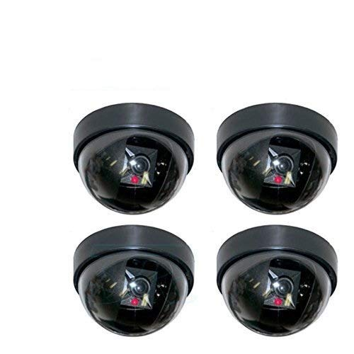 Simxen 4 Pcs Dummy Security CCTV Fake Dome Camera with Blinking red LED Light Indication for Home or Office Security Camera