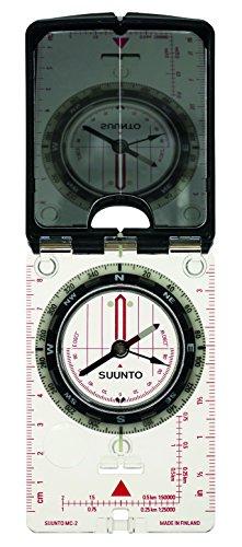SUUNTO Spiegelkompass MC-2NH, transparente Bodenplatte, Spiegel mit Kimme, Peilloch, Dämmerungsmarken, Tragekordel