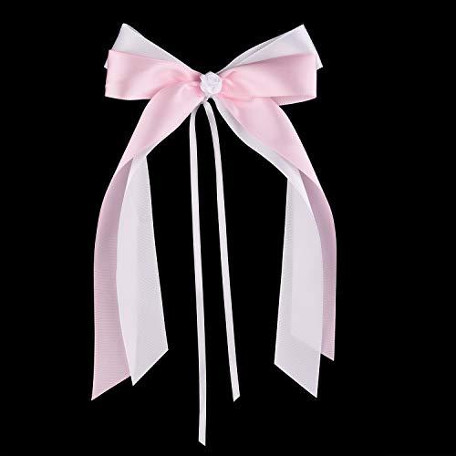 FEPITO 25 Rosa & Weiß Antennenschleifen Autoschleifen Hochzeit Hochzeitsdeko Tisch Deko Taufe Deko Mädchen Tichdeko Taufe | Hochwertiges Satin | Handgemacht (Rosa)