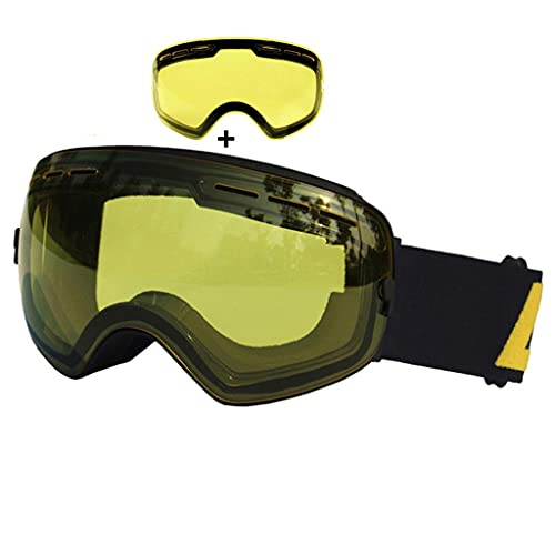 PVDR Gafas De Esquí De Doble Capa Anti-vaho UV400 Gafas De Esquí Esféricas Esquí Snow Snowboard Gafas De Esquí Lentes De Brillo (Color : E)
