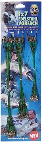 Behrfishing- Bottom line Stahl 1 x 7 Chefs aus rostfreiem Draht (Nylon) 72 Stück 15cm / 20cm / 25cm - 10 kg