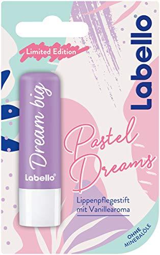 Labello Pastel Dreams Lippenpflegestift (4,8 g), Lippenpflege mit aufregendem Vanillearoma für natürlich schöne Lippen, pflegender Lippenbalsam ohne Mineralöle