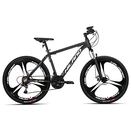 Hiland 26 Inch Mountain Bike Aluminum MTB Bicycle with 19.5 Inch Frame Kickstand Disc-Brake Suspension Fork Cycling Urban Commuter City Bicycle 3-Spoks Dark Grey