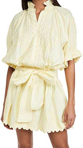 Juliet Dunn Women's Blouson Dress, Lemon, Yellow, 3