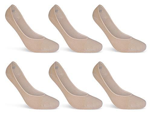 6 Paar Damen Sneaker Socken Füßlinge Baumwolle Schwarz Weiß Beige - 15500 (39-42, 6 Paar   Beige)